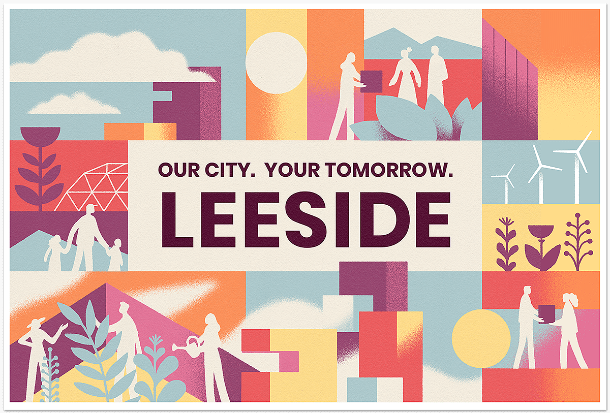 Leeside postcard. Our city. Your tomorrow. Leeside